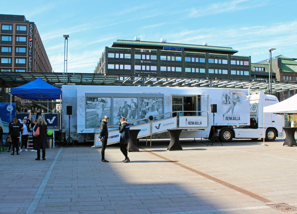 2017 Sports Museum on Wheels. Exhibition tour in various parts of Finland.
