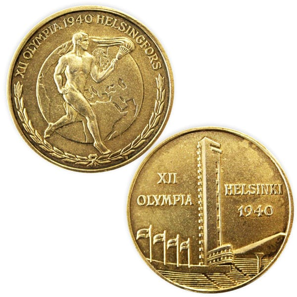 Helsinki Olympic Games 1940 Commemorative medal gilded tampac The Sports Museum of Finland