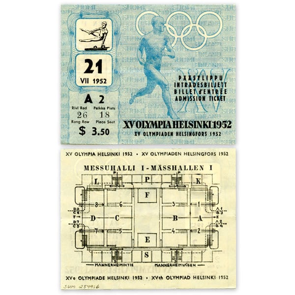 Helsinki Olympic Games 1952  Admission ticket (gymnastics) The Sports Museum of Finland