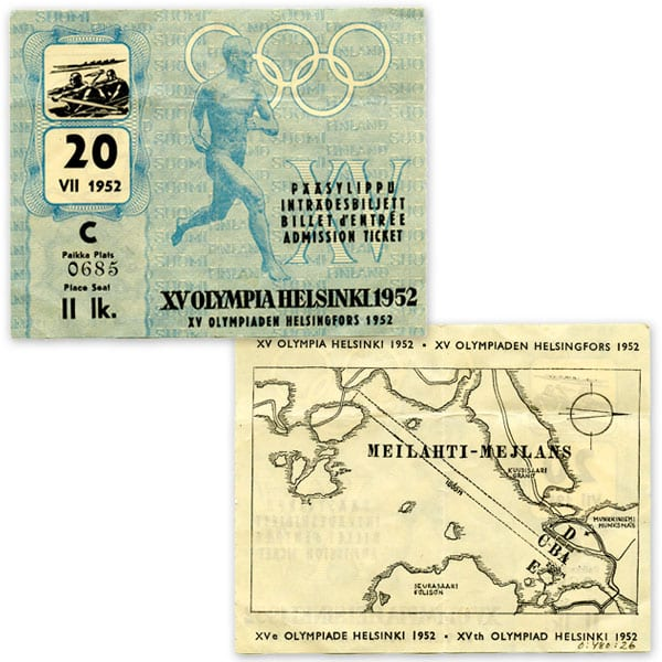 Helsinki Olympic Games 1952  Admission ticket (rowing) The Sports Museum of Finland