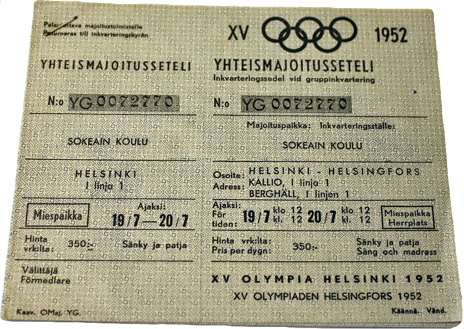 Helsinki Olympic Games 1952 Community housing coupons The Sports Museum of Finland
