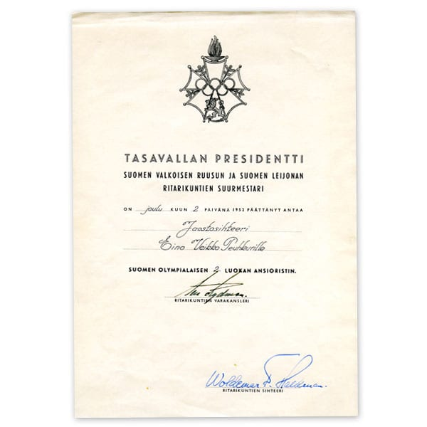 Helsinki Olympic Games 1952  Deed of Olympic Cross of Merit The Sports Museum of Finland