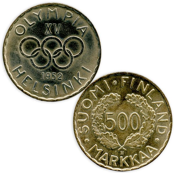 Helsinki Olympic Games 1952  Olympic coin The Sports Museum of Finland