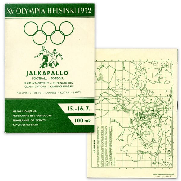 Helsinki Olympic Games 1952  Olympic programme (football) The Sports Museum of Finland
