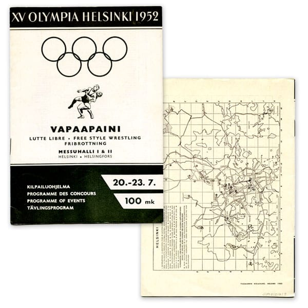 Helsinki Olympic Games 1952  Olympic programme (freestyle wrestling) The Sports Museum of Finland