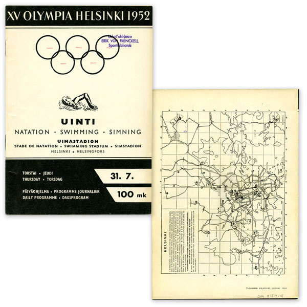 Helsinki Olympic Games 1952  Olympic programme (swimming) The Sports Museum of Finland