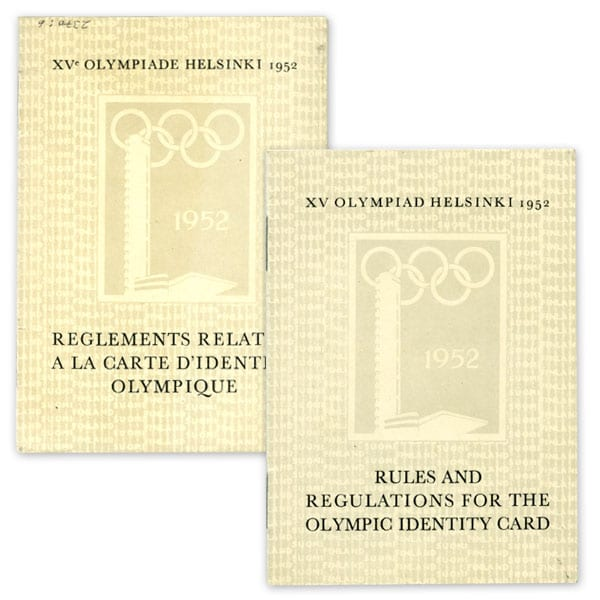 Helsinki Olympic Games 1952  Regulations booklet of identity card The Sports Museum of Finland