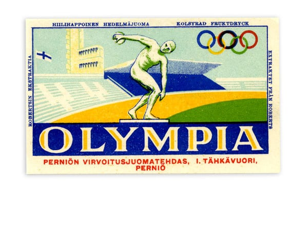 Helsinki Olympic Games 1952  Soft drink bottle label The Sports Museum of Finland