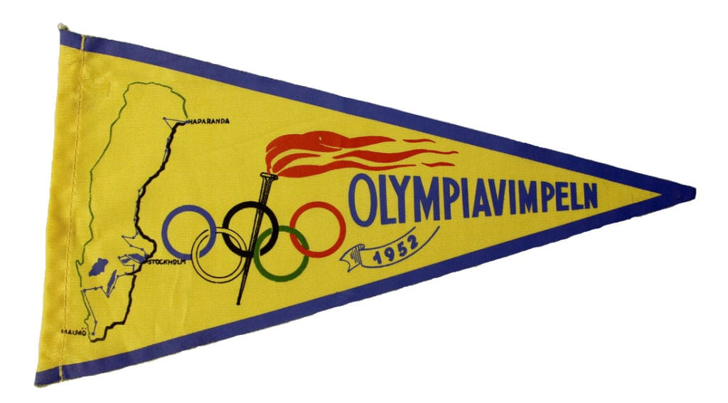 Helsinki Olympic Games 1952 Torch relay pennant The Sports Museum of Finland