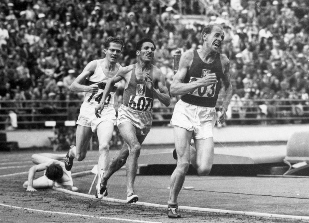 Emil Zátopek of Czechoslovakia leading the 5,000-metre final